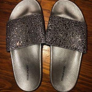 Maurices Rhinestone Silver Slides